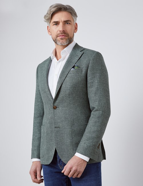 Men's Green Italian Wool Linen Blend Jacket - 1913 Collection