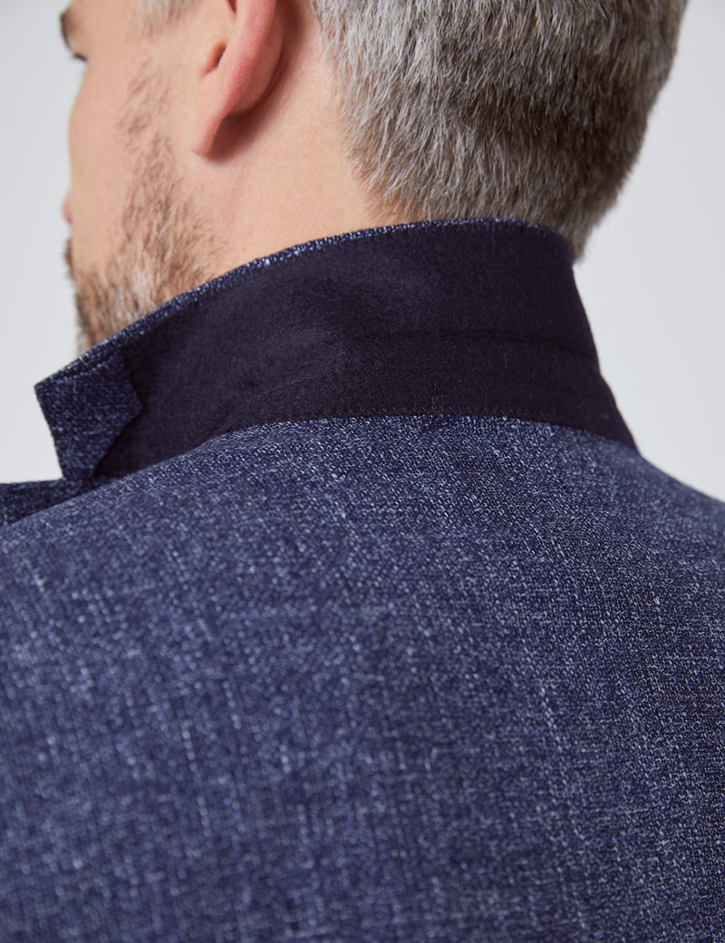 Men's Navy Italian Wool Linen Blend Jacket - 1913 Collection