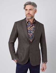 Men's Brown Italian Wool Linen Blend Jacket - 1913 Collection