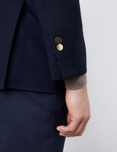Men's Slim Fit Wool Navy Blazer