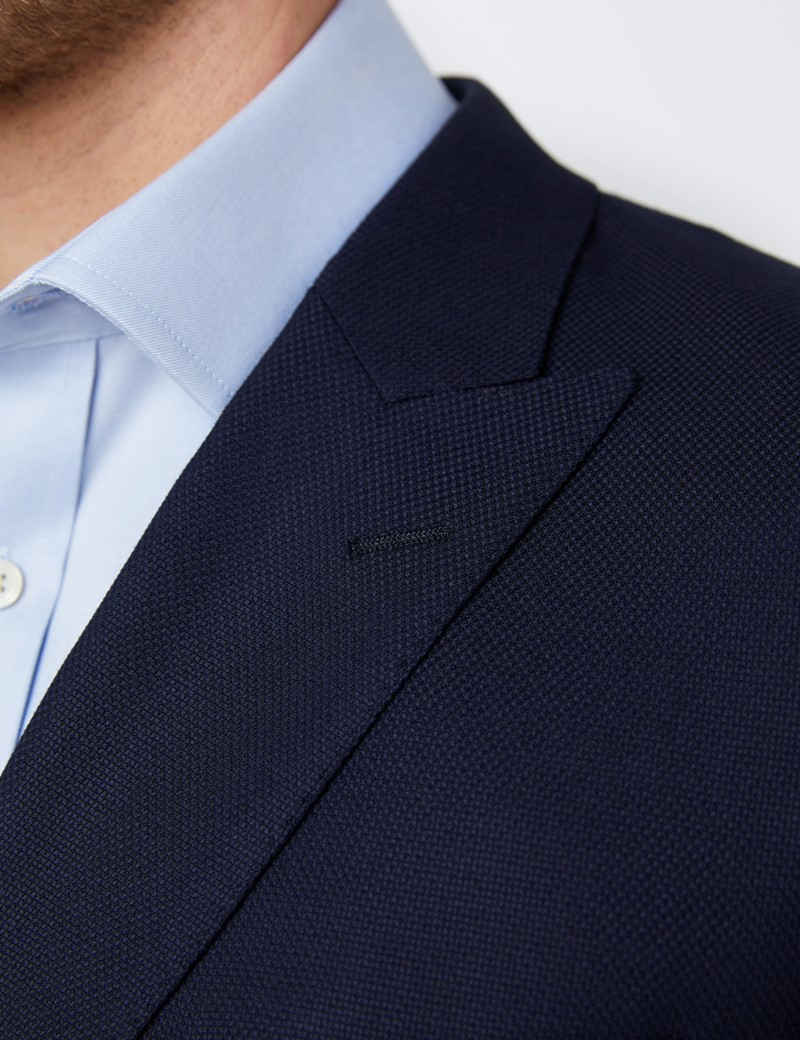 Men's Double Breasted Wool Navy Blazer