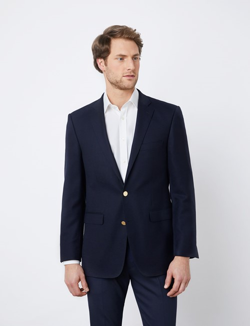 Men's Classic Fit Wool Navy Blazer