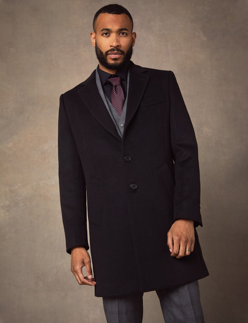 Men's Black Wool Overcoat