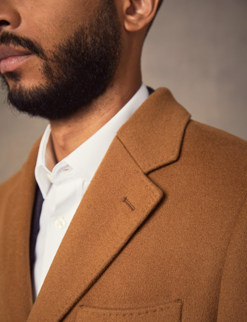 Men's Tan Wool Overcoat