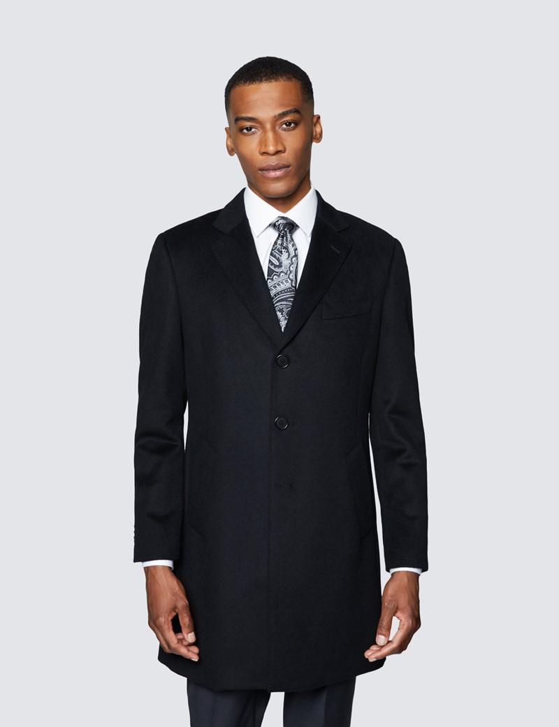 Men's Black Wool Overcoat
