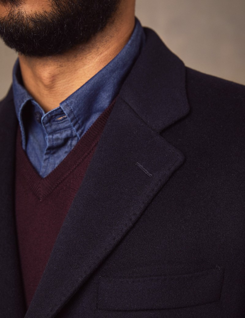 Men's Navy Wool Overcoat