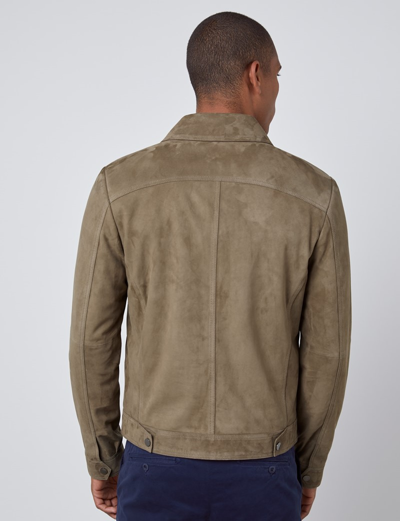 Men's Taupe Slim Fit Luxury Suede Jacket