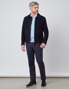 Men's Navy Slim Fit Luxury Suede Jacket