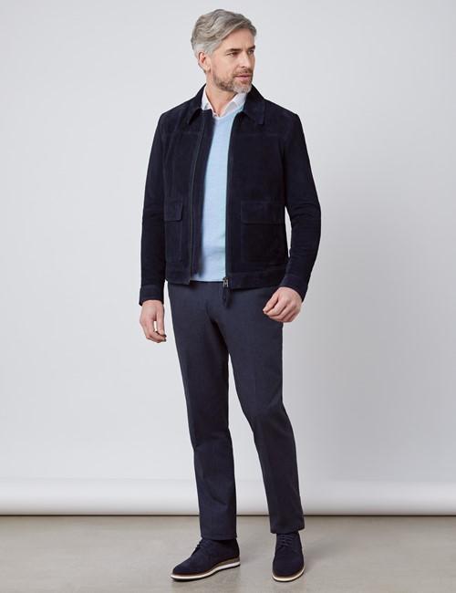Men's Navy Slim Fit Luxury Suede Jacket
