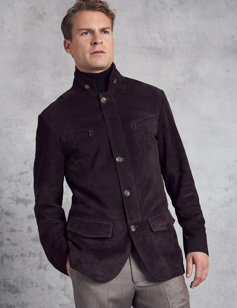 Men's Dark Brown Suede Jacket