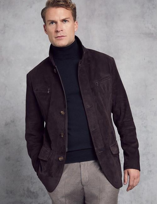 Men's Dark Brown Suede Jacket
