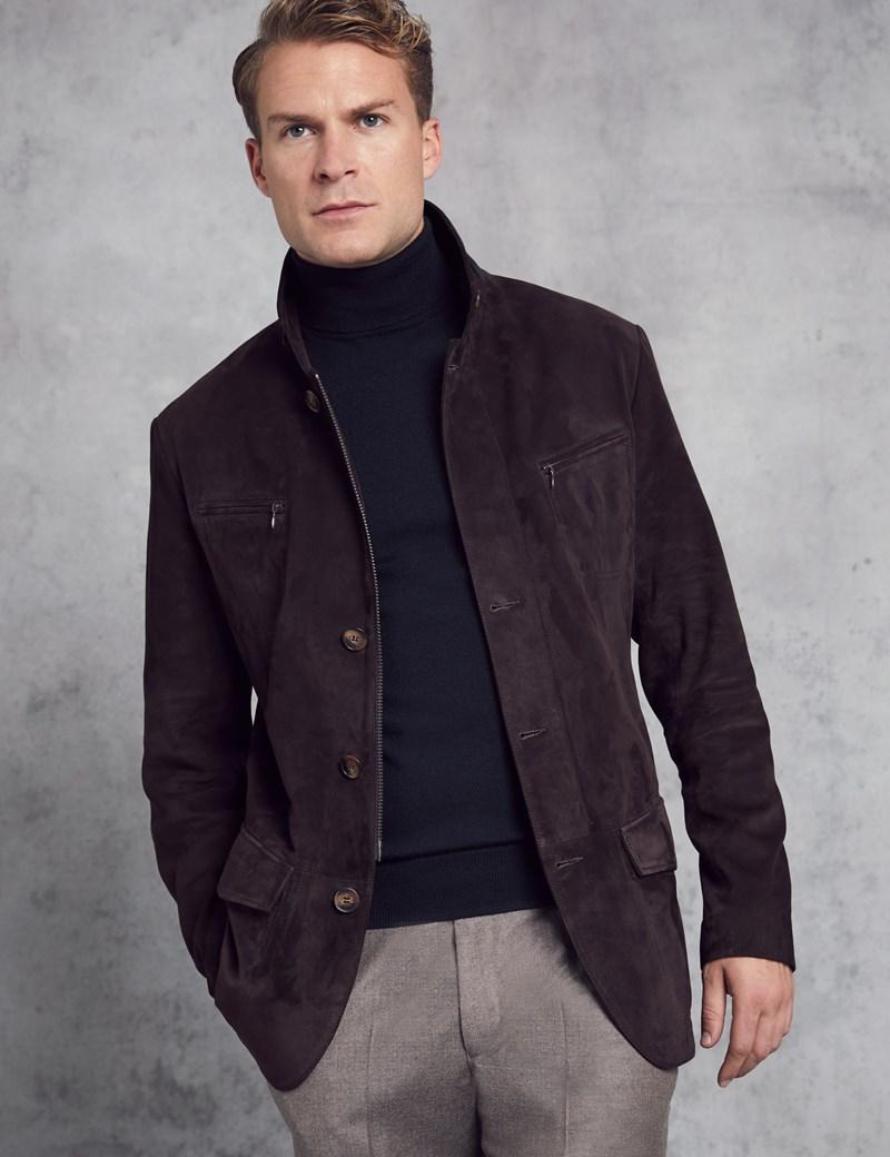 fef3b32b2 Men's Dark Brown Suede Jacket