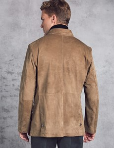 Modische Velourslederjacke – Smart Casual – Slim Fit – Graubeige