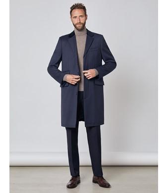 Men's Navy Covert Coat - 100% Wool