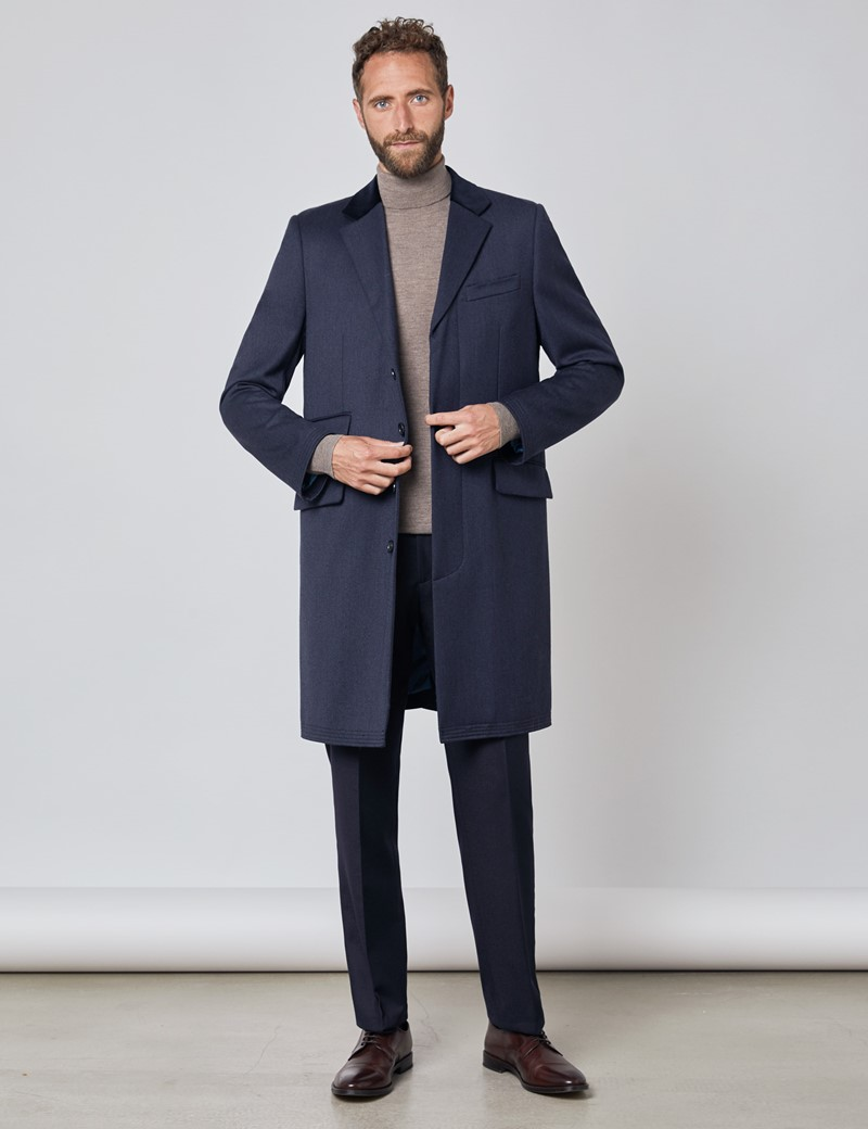 Men's Navy Covert Coat - 100% Wool