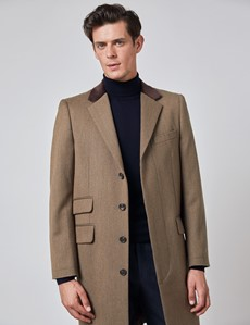 Men's Camel Covert Coat - 100% Wool