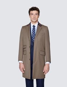 Men's Camel Covert Coat - 100% Wool