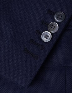 Men's Navy Piqué Wool Blazer - Mark Francis Collection