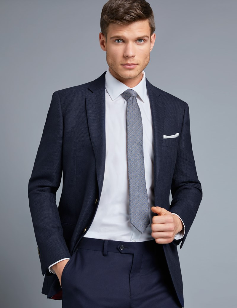 Men's Navy Formal Blazer - Super 100s Wool