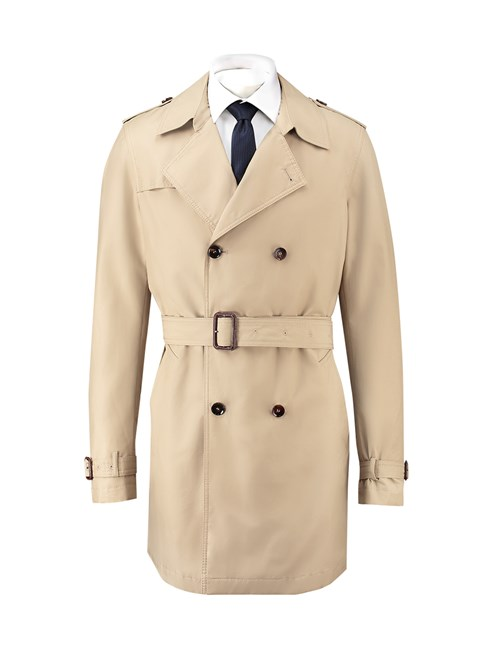 Men's Beige Ascot Military Rain Mac
