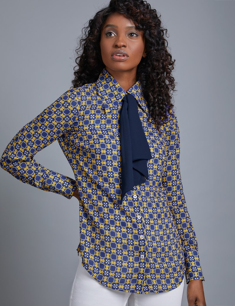 Women's Blue & Yellow Tile Design Semi Fitted Blouse With Neck Tie