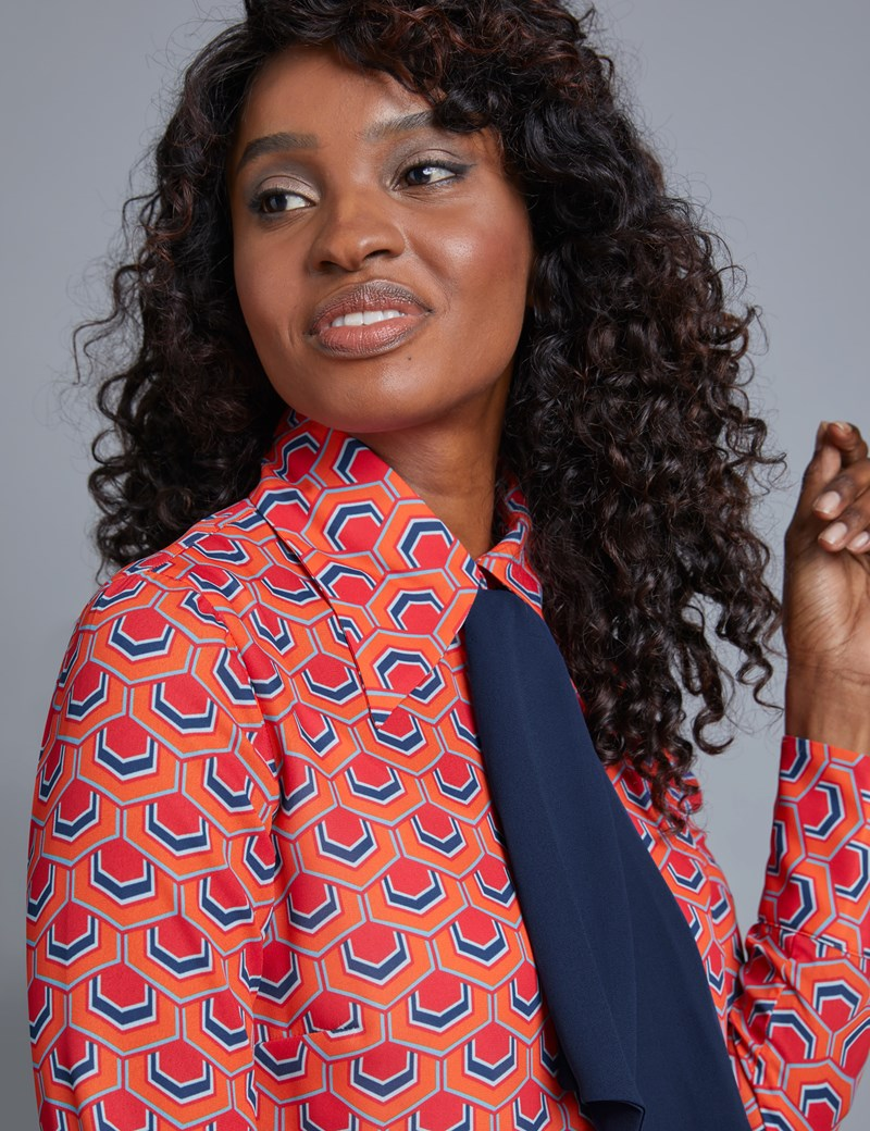 Women's Orange & Navy Geometric Design Semi Fitted Blouse With Neck Tie