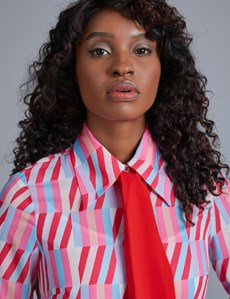 Women's Pink & Blue Geometric Design Semi Fitted Blouse With Neck Tie
