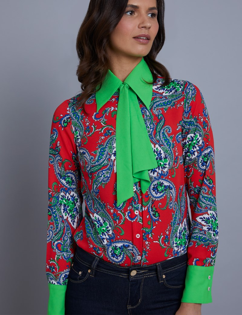 Women's Red Paisley Semi Fitted Blouse With Contrast Neck Tie