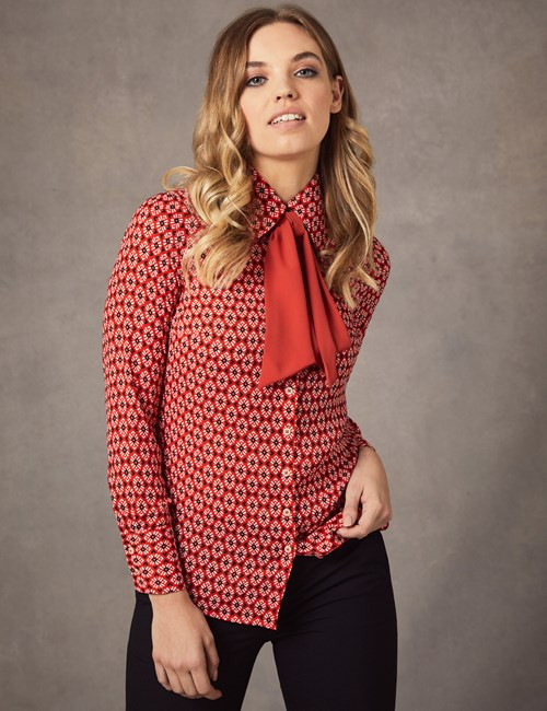 Women's Black & Red Geometric Print Semi Fitted Blouse With Contrast Neck Tie