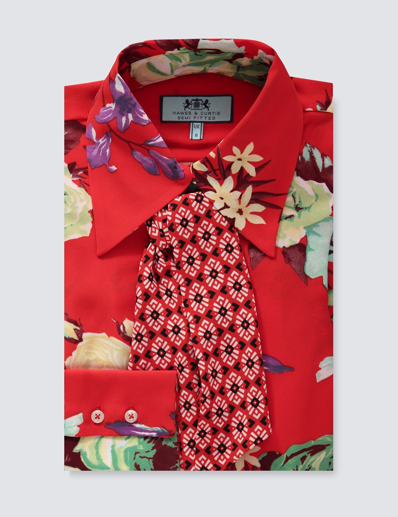 Women's Orange Floral Semi Fitted Shirt With Neck Tie - Single Cuff