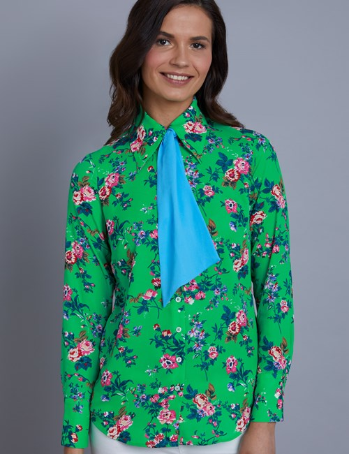 Women's Green & wine Floral Semi Fitted Blouse With Contrast Neck Tie