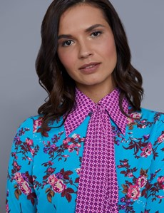 Women's Blue & Wine Semi Fitted Shirt With Neck Tie - Single Cuff