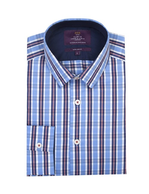 Men's Curtis Blue & Red Multi Check Extra Slim Fit Shirt - One Button Collar - Single Cuff