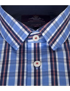 Curtis Blue & Red Multi Check Extra Slim Fit Men's Shirt  - Single Cuff