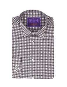 Curtis Navy & Brown  Poppy Geo Print Extra Slim Fit Men's Shirt - Single Cuff