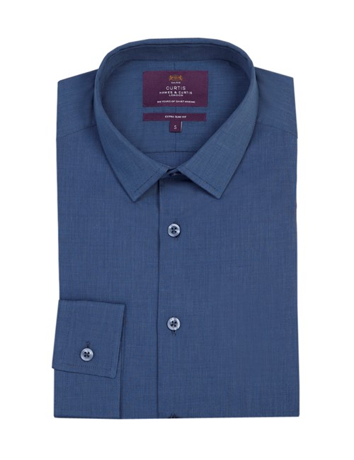 Men's Curtis Navy End On End Extra Slim Fit Shirt - One Button Collar - Single Cuff