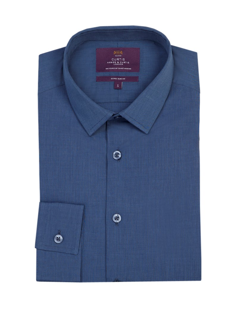 Curtis Plain Navy End On End Extra Slim Fit Men's Shirt With Contrast - Single Cuff
