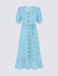 Women's Tove Midi Blue Ditsy Dress