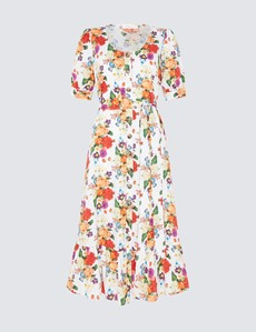 Women's Tove Midi White and Red Floral Dress