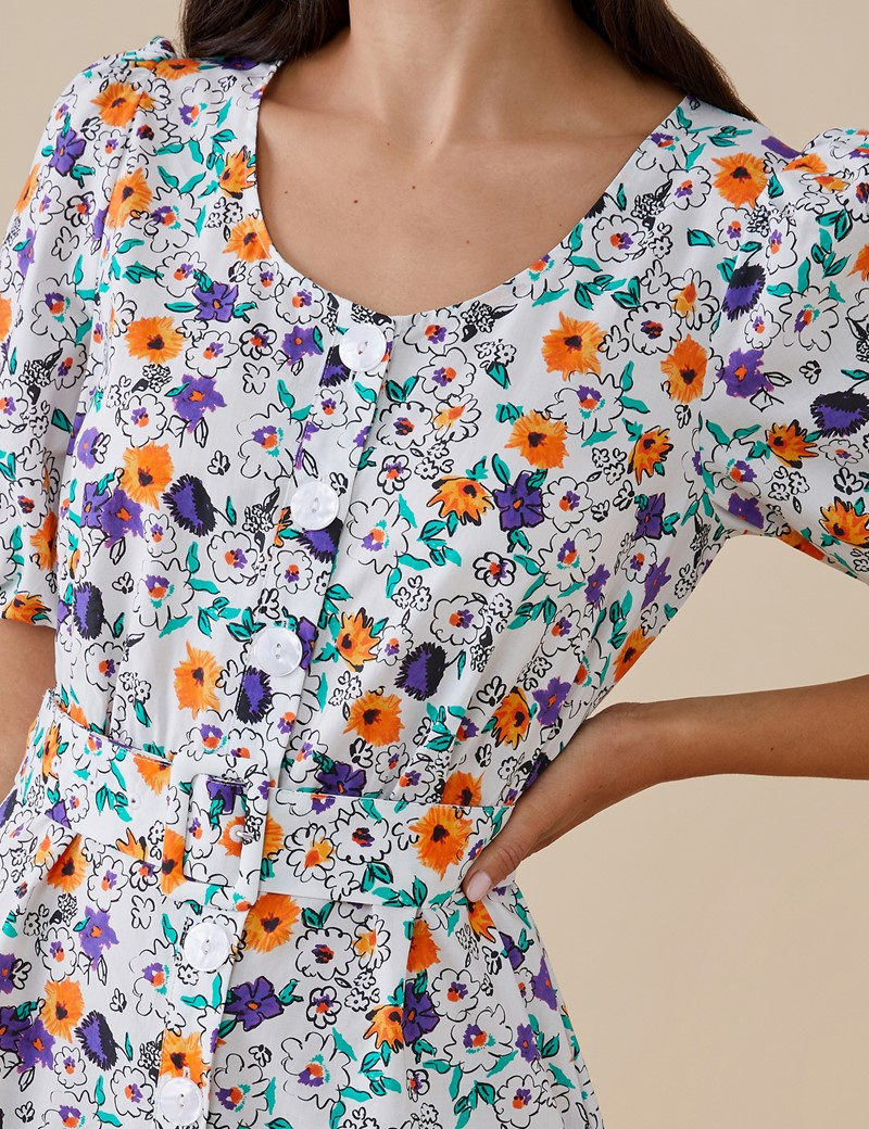 Women's Aila White and Purple Floral Dress