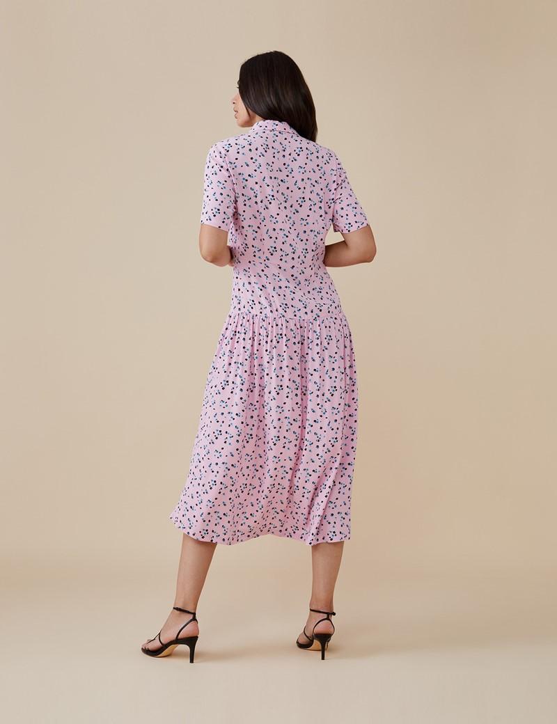 Women's Tania Midi Pink Ditsy Dress