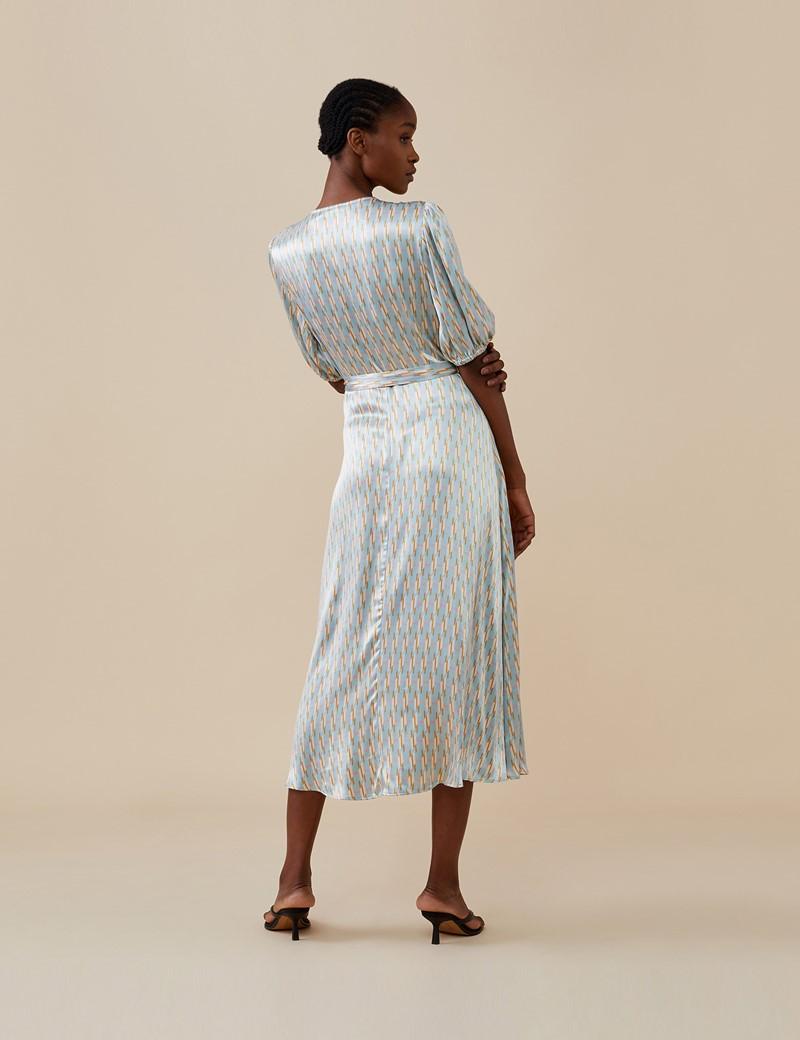 Women's Lizzy Midi Blue Geo Dress