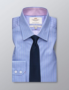 Men's Dress Blue & White Stripe Extra Slim Fit Shirt - Single Cuff - Easy Iron
