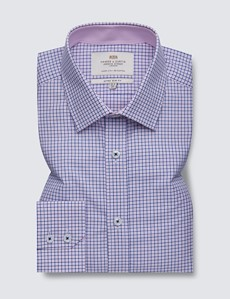 Men's Dress Blue & Pink Multi Plaid Extra Slim Fit Shirt with Contrast Detail - Single Cuff - Easy Iron
