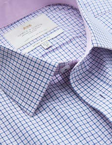 Men's Business Pink & Navy Multi Check Extra Slim Fit Shirt  - Single Cuff - Easy Iron