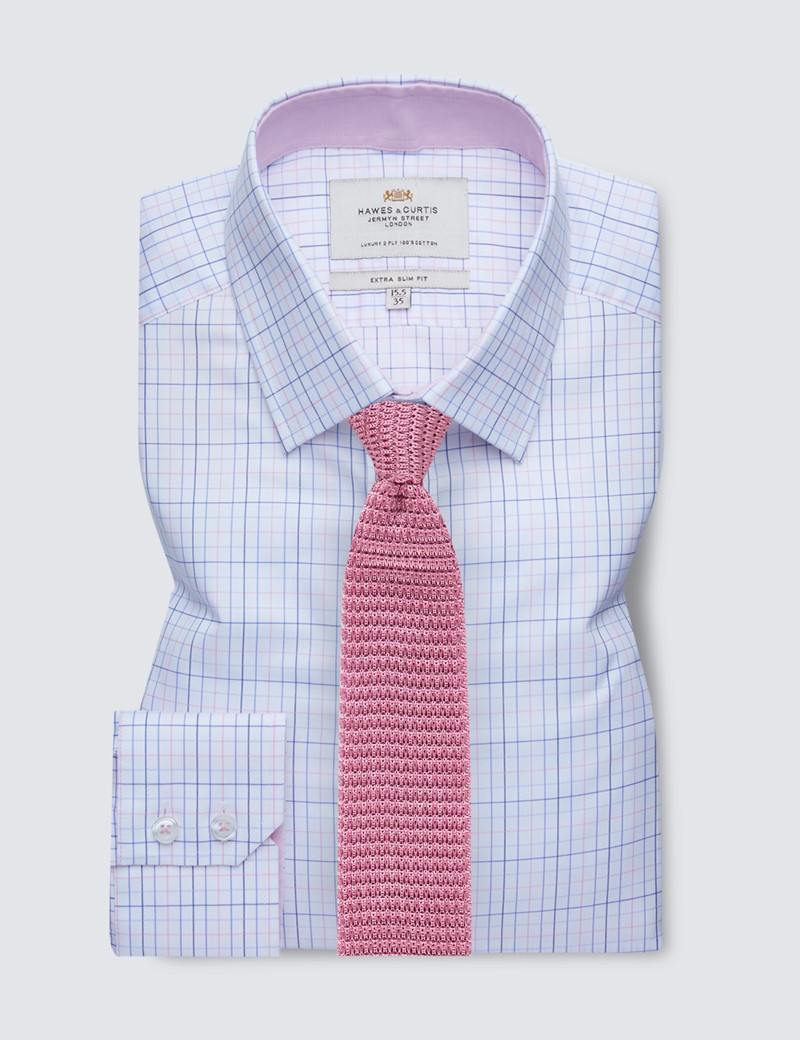 Easy Iron Pink & Blue Multi Check Extra Slim Fit Shirt