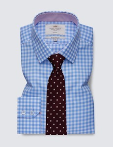 Men's Formal Blue & White Large Gingham Extra Slim Fit Shirt with Contrast Detail - Single Cuff - Non Iron