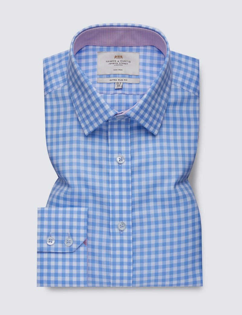 Men's Business Blue & White Large Gingham Extra Slim Fit Shirt with Contrast Detail - Single Cuff - Non Iron