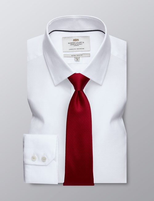 Men's Dress White Fabric Interest Extra Slim Fit Shirt - Single Cuff - Easy Iron