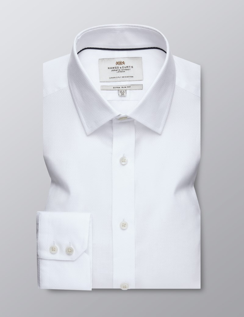 Men's Business White Fabric Interest Extra Slim Fit Shirt - Single Cuff - Easy Iron